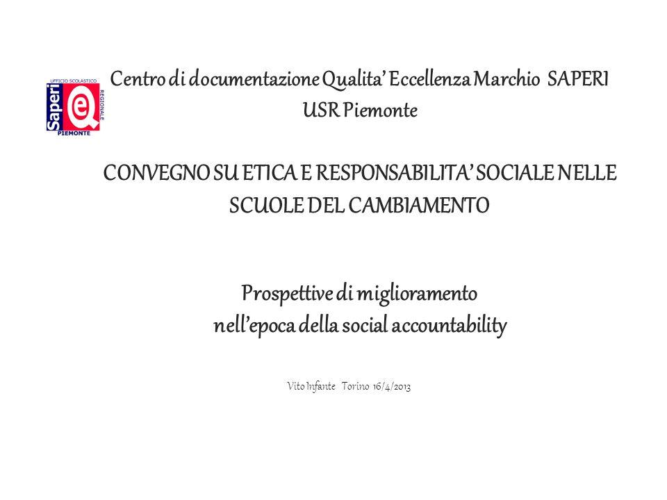 L USR ha istituito un organo di supporto per tutte le parti interessate: Il Centro di Documentazione per la Qualità, lEccellenza e il Marchio SAPERI compiti: Documentazione, Formazione, Ricerca SOCIAL ACCOUNTABILITY Vito Infante Torino 16/4/2013