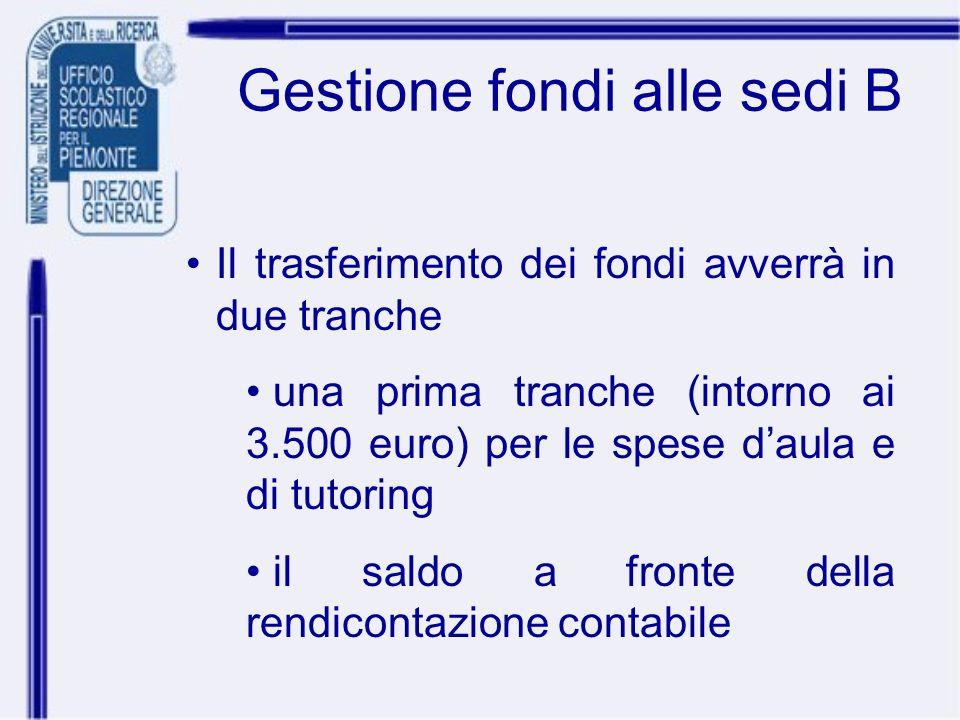 Gestione fondi alle sedi B Il trasferimento dei fondi avverrà in due tranche una prima tranche (intorno ai 3.500 euro) per le spese daula e di tutorin