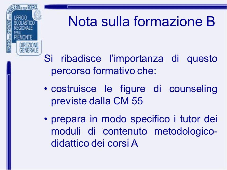 Nota sulla formazione B Si ribadisce limportanza di questo percorso formativo che: costruisce le figure di counseling previste dalla CM 55 prepara in