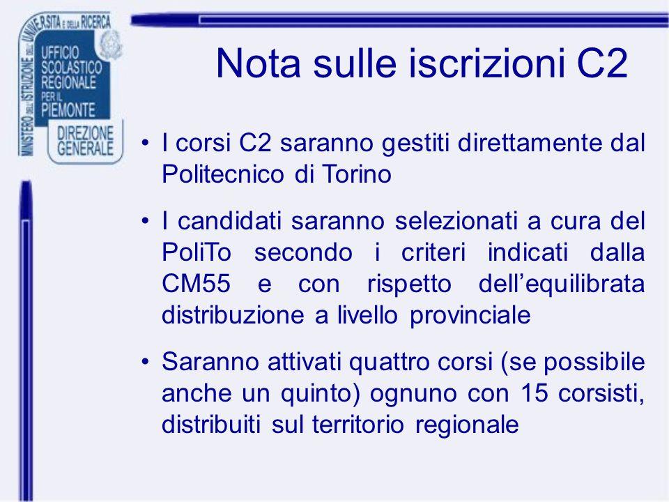 Nota sulle iscrizioni C2 I corsi C2 saranno gestiti direttamente dal Politecnico di Torino I candidati saranno selezionati a cura del PoliTo secondo i