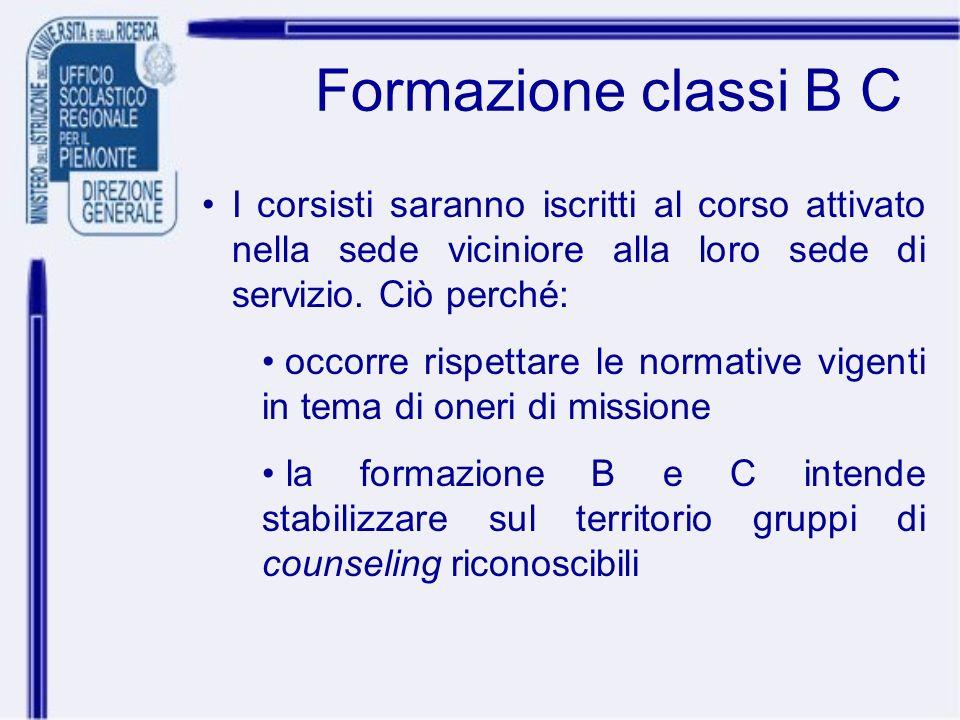 Formazione classi B C I corsisti saranno iscritti al corso attivato nella sede viciniore alla loro sede di servizio. Ciò perché: occorre rispettare le