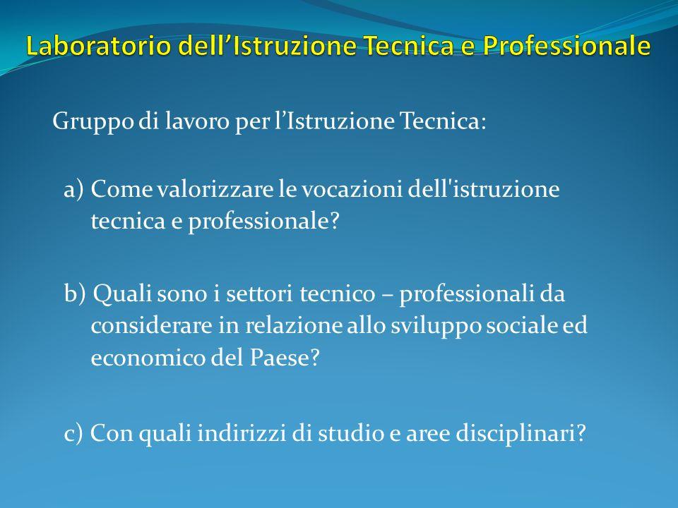 a) Come valorizzare le vocazioni dell'istruzione tecnica e professionale? b) Quali sono i settori tecnico – professionali da considerare in relazione