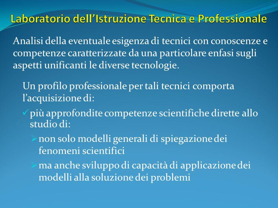 più approfondite competenze scientifiche dirette allo studio di: Analisi della eventuale esigenza di tecnici con conoscenze e competenze caratterizzate da una particolare enfasi sugli aspetti unificanti le diverse tecnologie.