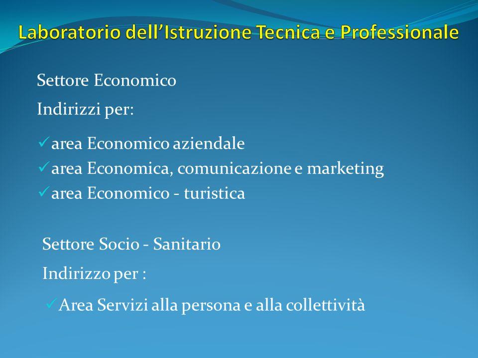 area Economico aziendale area Economica, comunicazione e marketing area Economico - turistica Settore Economico Indirizzi per: Settore Socio - Sanitar