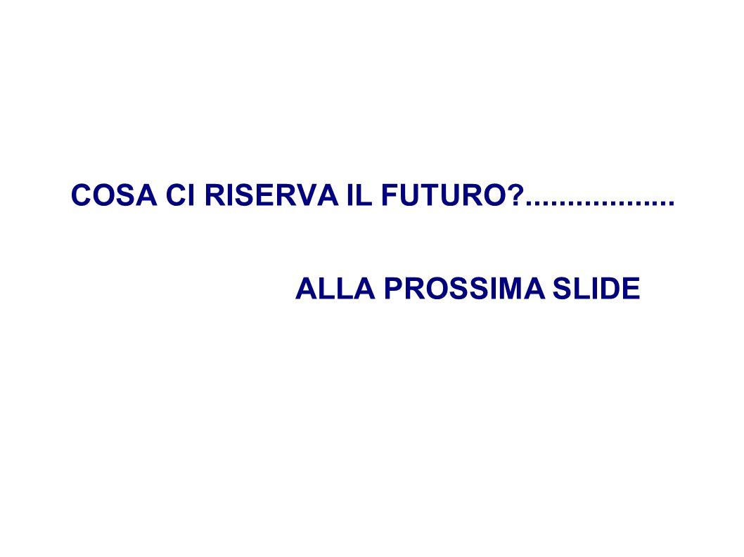 COSA CI RISERVA IL FUTURO .................. ALLA PROSSIMA SLIDE