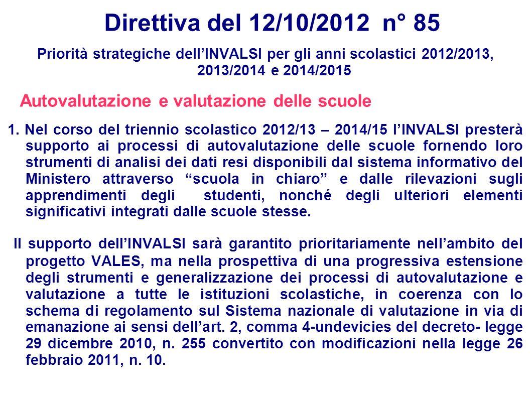 Direttiva del 12/10/2012 n° 85 Priorità strategiche dellINVALSI per gli anni scolastici 2012/2013, 2013/2014 e 2014/2015 Autovalutazione e valutazione delle scuole 1.