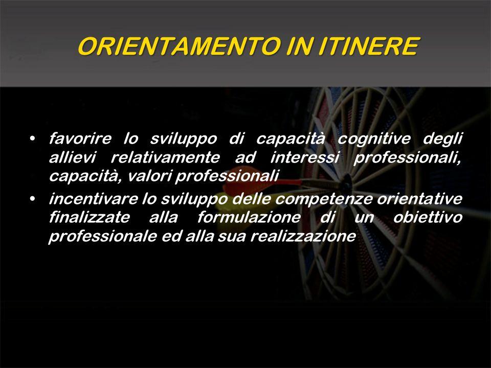 ORIENTAMENTO IN ITINERE favorire lo sviluppo di capacità cognitive degli allievi relativamente ad interessi professionali, capacità, valori profession