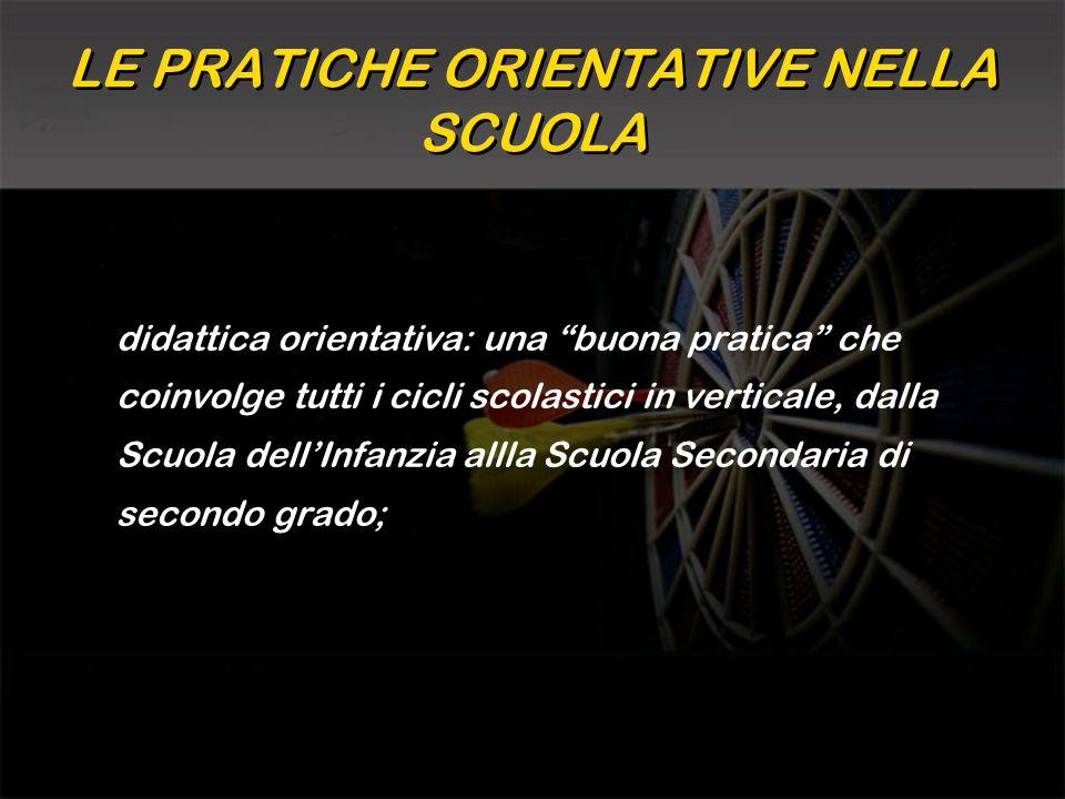 LE PRATICHE ORIENTATIVE NELLA SCUOLA didattica orientativa: una buona pratica che coinvolge tutti i cicli scolastici in verticale, dalla Scuola dellIn