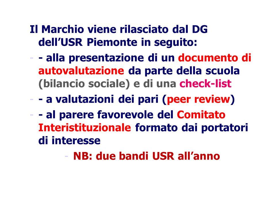 Il Marchio viene rilasciato dal DG dellUSR Piemonte in seguito: -- alla presentazione di un documento di autovalutazione da parte della scuola (bilanc