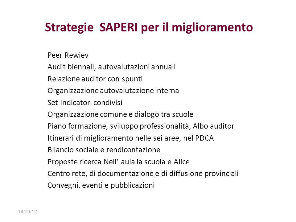 Strategie SAPERI per il miglioramento Peer Rewiev Audit biennali, autovalutazioni annuali Relazione auditor con spunti Organizzazione autovalutazione
