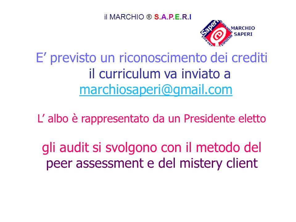 E previsto un riconoscimento dei crediti il curriculum va inviato a marchiosaperi@gmail.com L albo è rappresentato da un Presidente eletto gli audit s