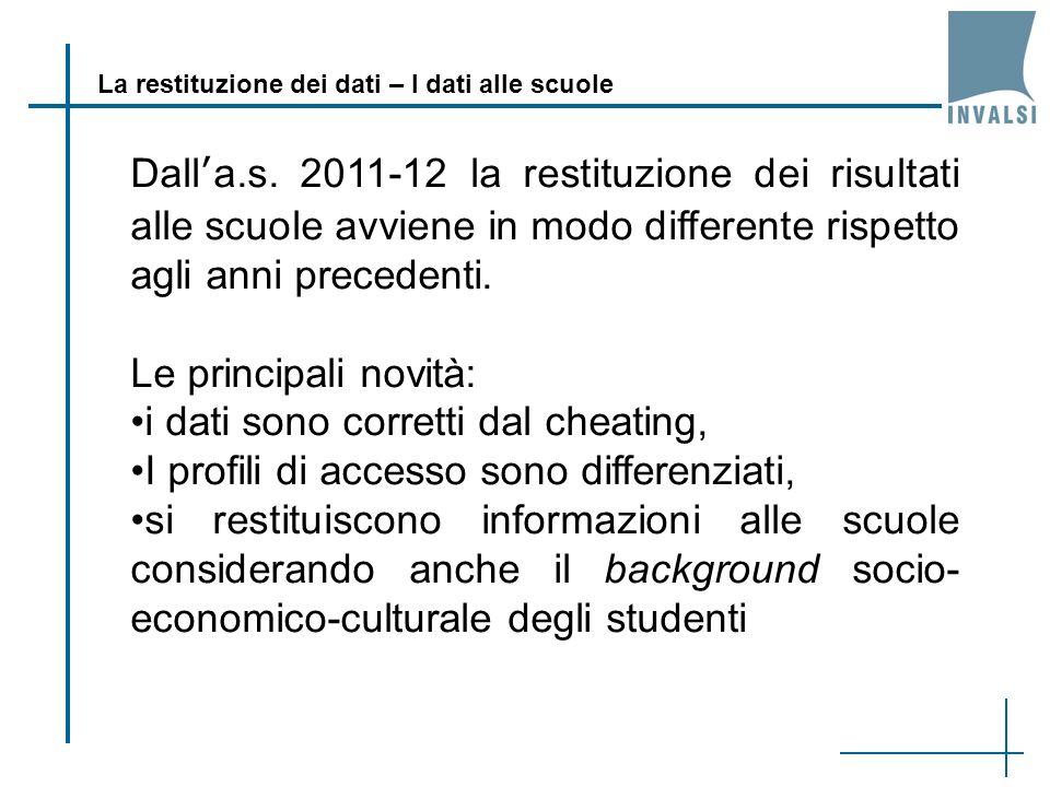 La restituzione dei dati – I dati alle scuole Dalla.s. 2011-12 la restituzione dei risultati alle scuole avviene in modo differente rispetto agli anni