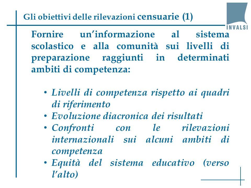 Fornire uninformazione al sistema scolastico e alla comunità sui livelli di preparazione raggiunti in determinati ambiti di competenza: Livelli di com