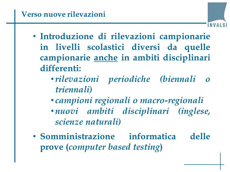 Introduzione di rilevazioni campionarie in livelli scolastici diversi da quelle campionarie anche in ambiti disciplinari differenti: rilevazioni perio