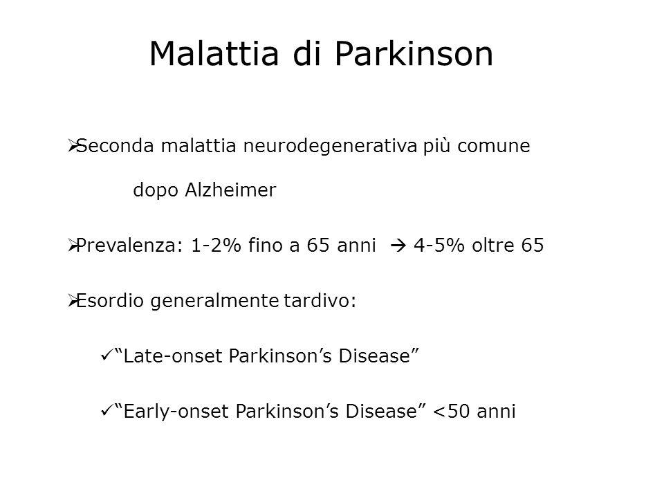 Malattia di Parkinson Seconda malattia neurodegenerativa più comune dopo Alzheimer Prevalenza: 1-2% fino a 65 anni 4-5% oltre 65 Esordio generalmente