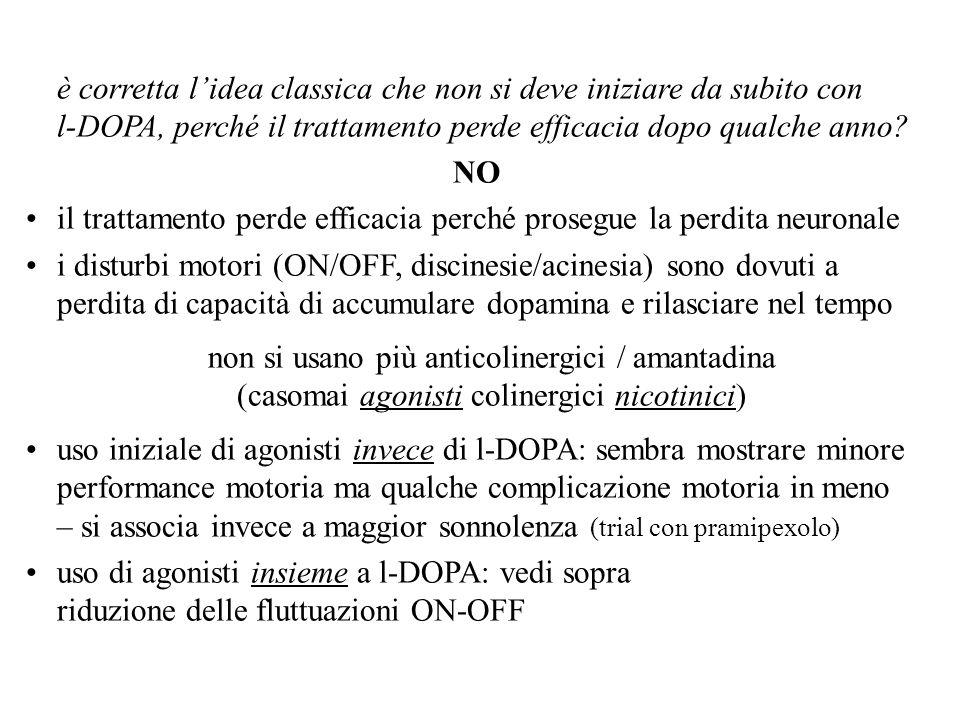 è corretta lidea classica che non si deve iniziare da subito con l-DOPA, perché il trattamento perde efficacia dopo qualche anno? NO il trattamento pe