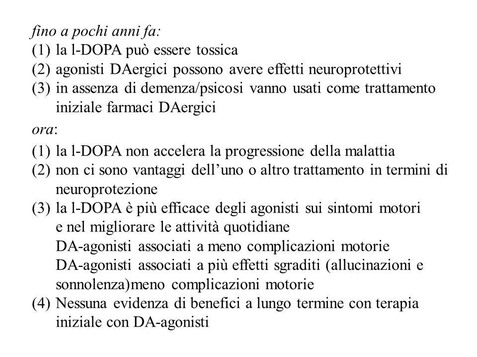 fino a pochi anni fa: (1)la l-DOPA può essere tossica (2)agonisti DAergici possono avere effetti neuroprotettivi (3)in assenza di demenza/psicosi vann