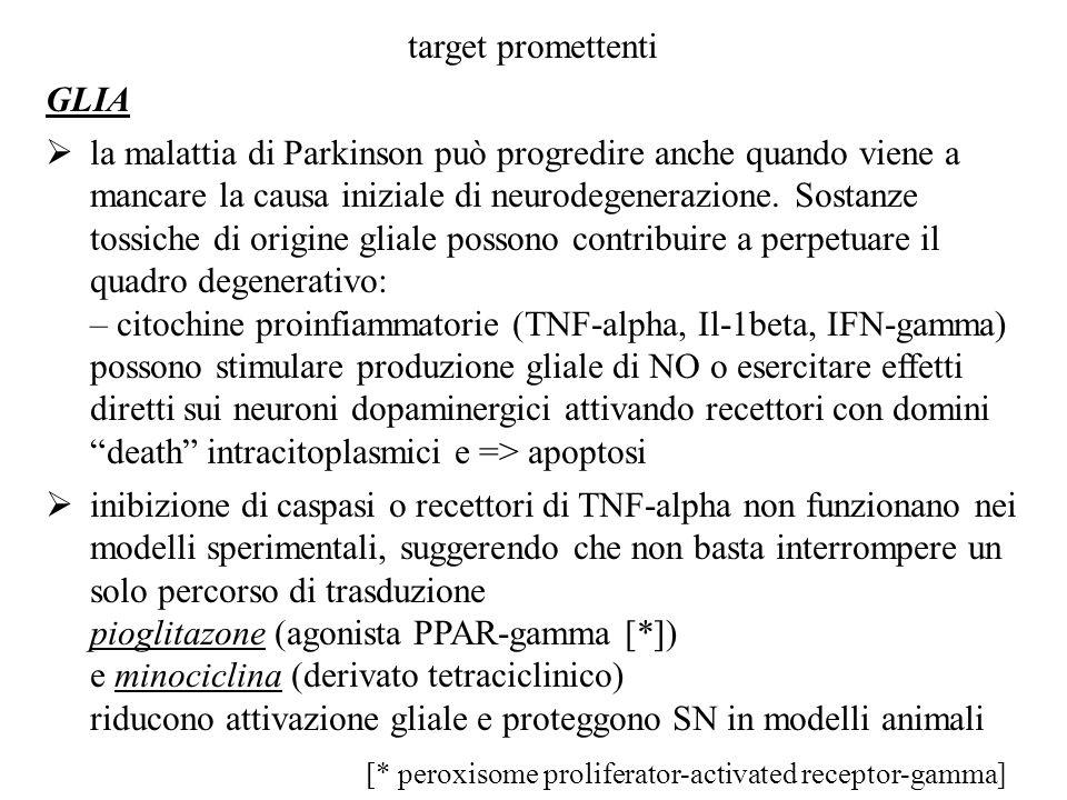 target promettenti GLIA la malattia di Parkinson può progredire anche quando viene a mancare la causa iniziale di neurodegenerazione. Sostanze tossich