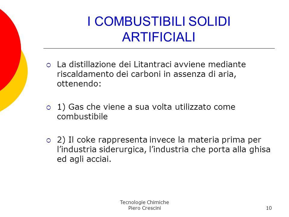 Tecnologie Chimiche Piero Crescini10 I COMBUSTIBILI SOLIDI ARTIFICIALI La distillazione dei Litantraci avviene mediante riscaldamento dei carboni in a