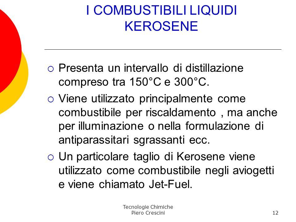 Tecnologie Chimiche Piero Crescini12 I COMBUSTIBILI LIQUIDI KEROSENE Presenta un intervallo di distillazione compreso tra 150°C e 300°C. Viene utilizz