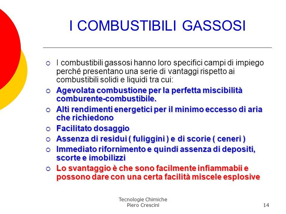 Tecnologie Chimiche Piero Crescini14 I COMBUSTIBILI GASSOSI I combustibili gassosi hanno loro specifici campi di impiego perché presentano una serie d