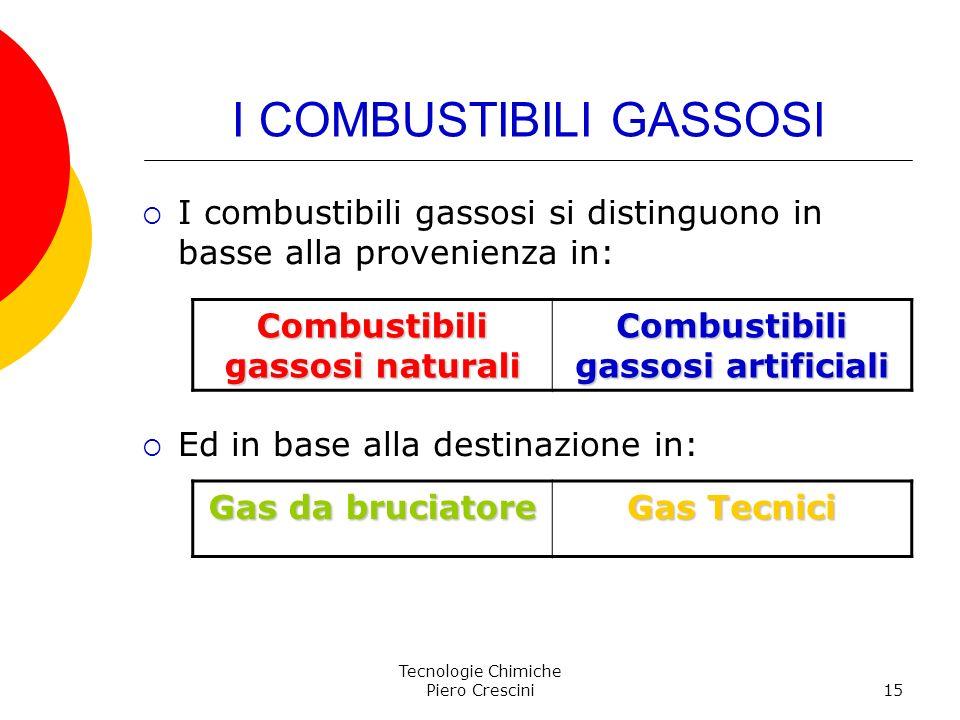 Tecnologie Chimiche Piero Crescini15 I COMBUSTIBILI GASSOSI I combustibili gassosi si distinguono in basse alla provenienza in: Ed in base alla destin