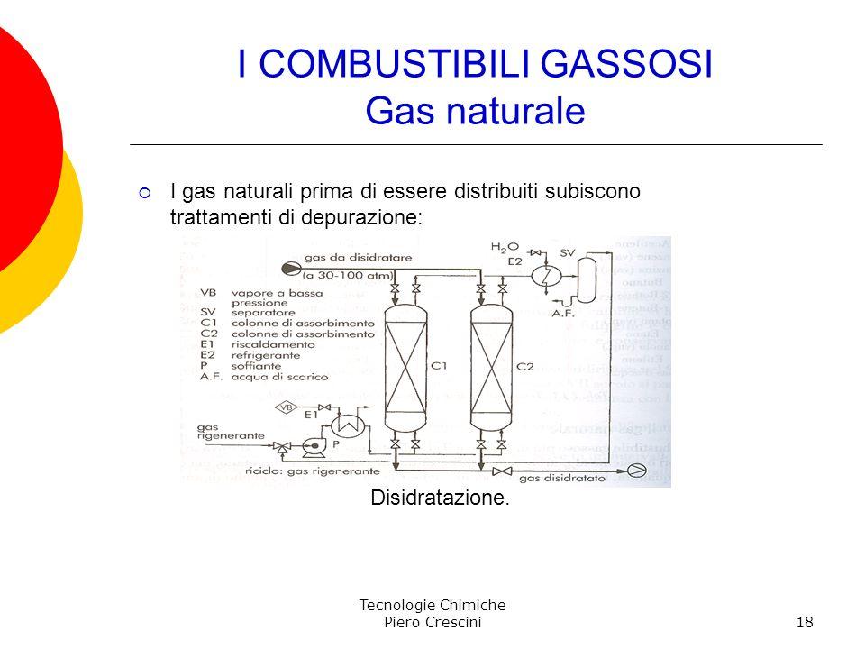 Tecnologie Chimiche Piero Crescini18 I COMBUSTIBILI GASSOSI Gas naturale I gas naturali prima di essere distribuiti subiscono trattamenti di depurazio