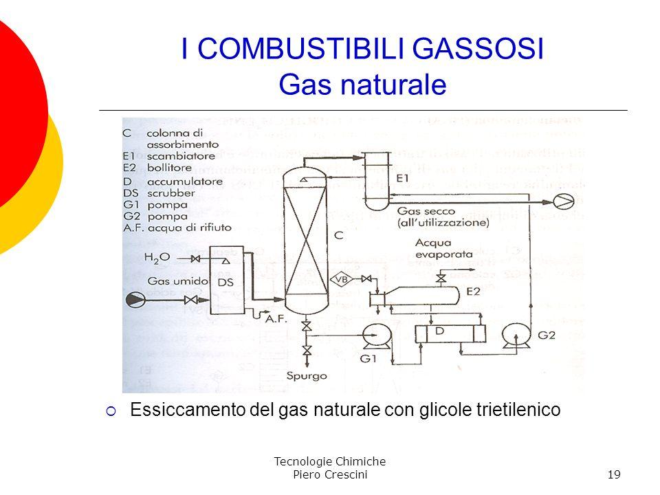 Tecnologie Chimiche Piero Crescini19 I COMBUSTIBILI GASSOSI Gas naturale Essiccamento del gas naturale con glicole trietilenico
