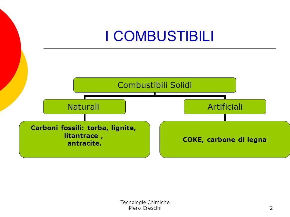 Tecnologie Chimiche Piero Crescini2 I COMBUSTIBILI Combustibili Solidi Naturali Carboni fossili: torba, lignite, litantrace, antracite. Artificiali CO
