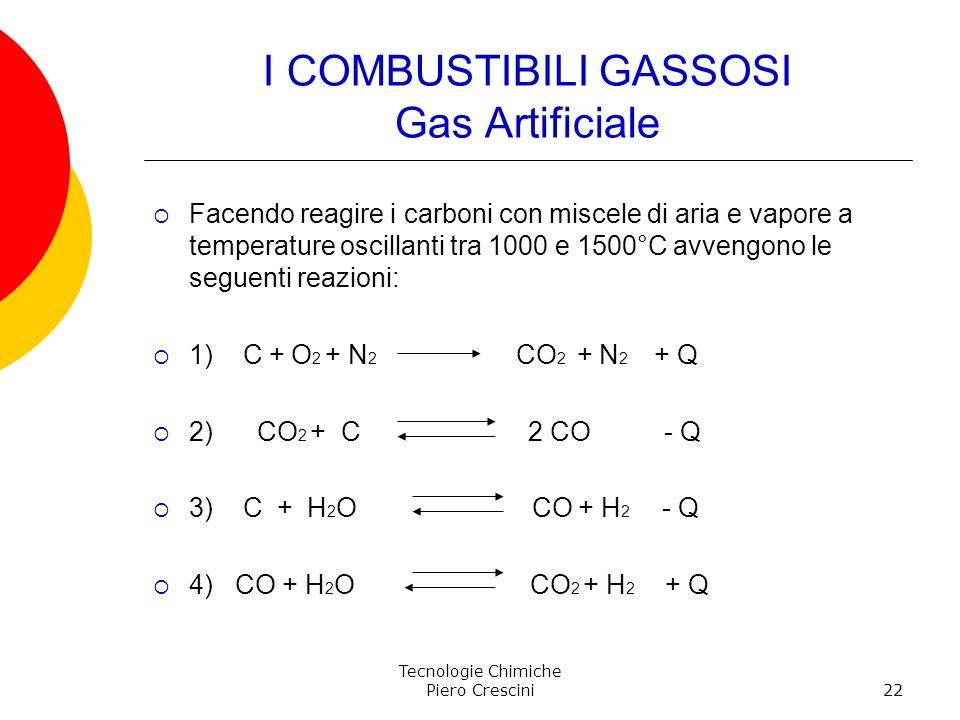 Tecnologie Chimiche Piero Crescini22 I COMBUSTIBILI GASSOSI Gas Artificiale Facendo reagire i carboni con miscele di aria e vapore a temperature oscil