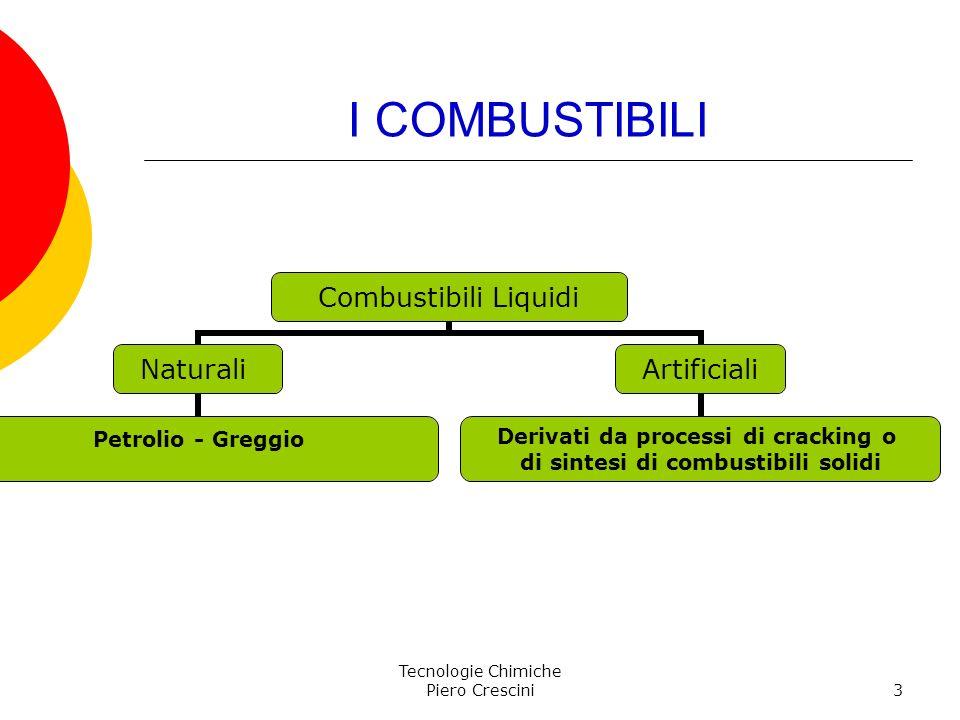 Tecnologie Chimiche Piero Crescini3 I COMBUSTIBILI Combustibili Liquidi Naturali Petrolio - Greggio Artificiali Derivati da processi di cracking o di