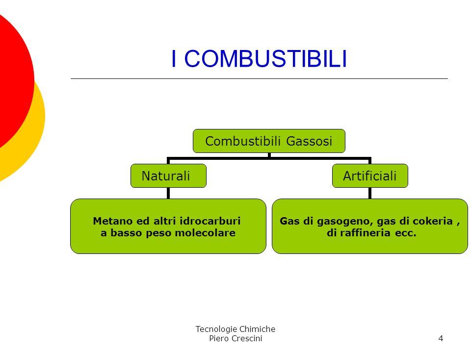 Tecnologie Chimiche Piero Crescini4 I COMBUSTIBILI Combustibili Gassosi Naturali Metano ed altri idrocarburi a basso peso molecolare Artificiali Gas d