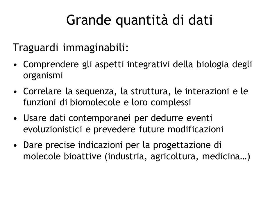 Grande quantità di dati Traguardi immaginabili: Comprendere gli aspetti integrativi della biologia degli organismi Correlare la sequenza, la struttura