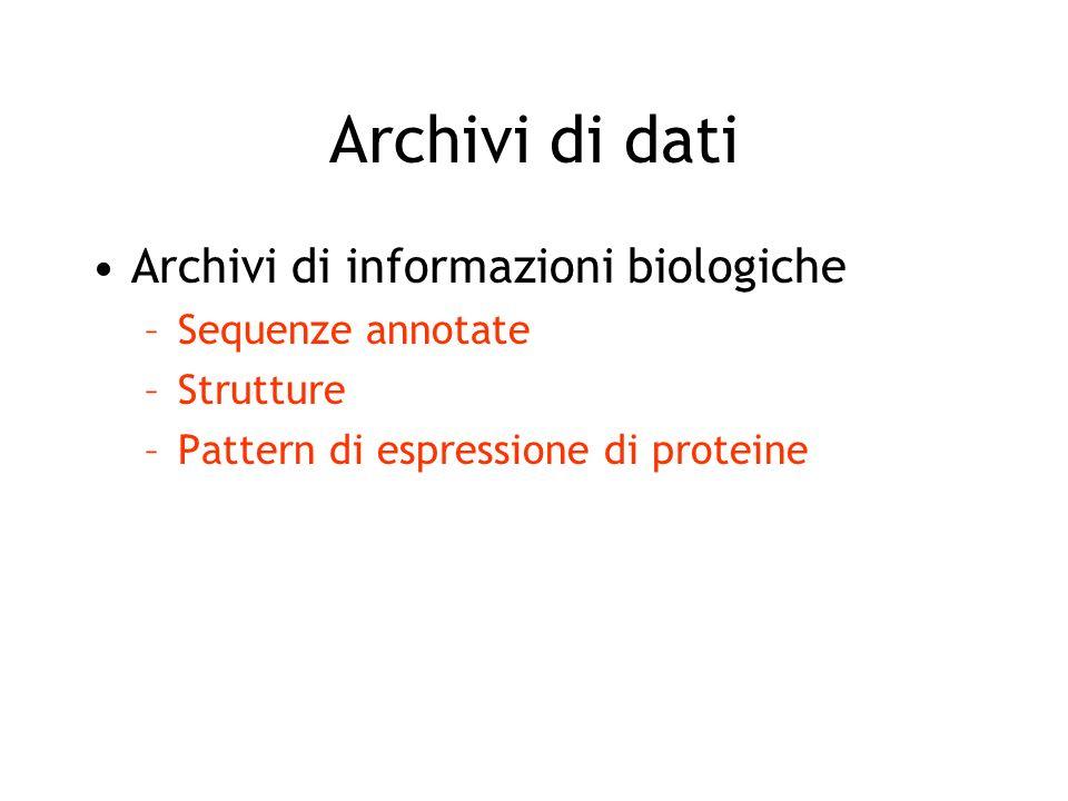 Archivi di dati Archivi di informazioni biologiche Archivi di informazioni derivate –Patterns, signature, consensus motifs –Mutazioni e varianti –Classificazioni o relazioni (es.