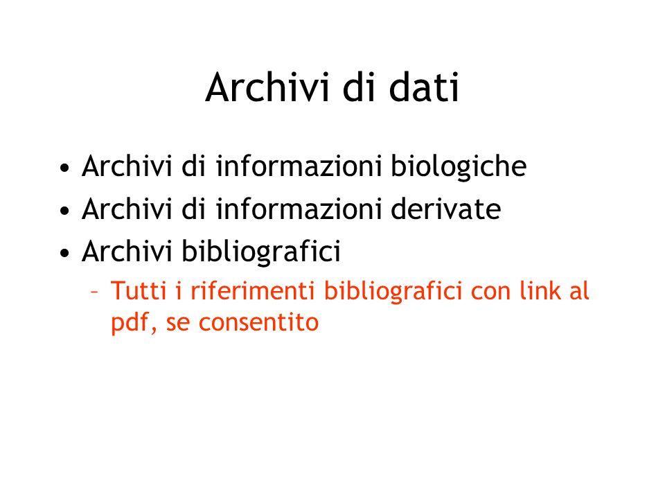 Archivi di dati Archivi di informazioni biologiche Archivi di informazioni derivate Archivi bibliografici Archivi di siti web –Archivi degli archivi di cui sopra –Collegamenti tra archivi