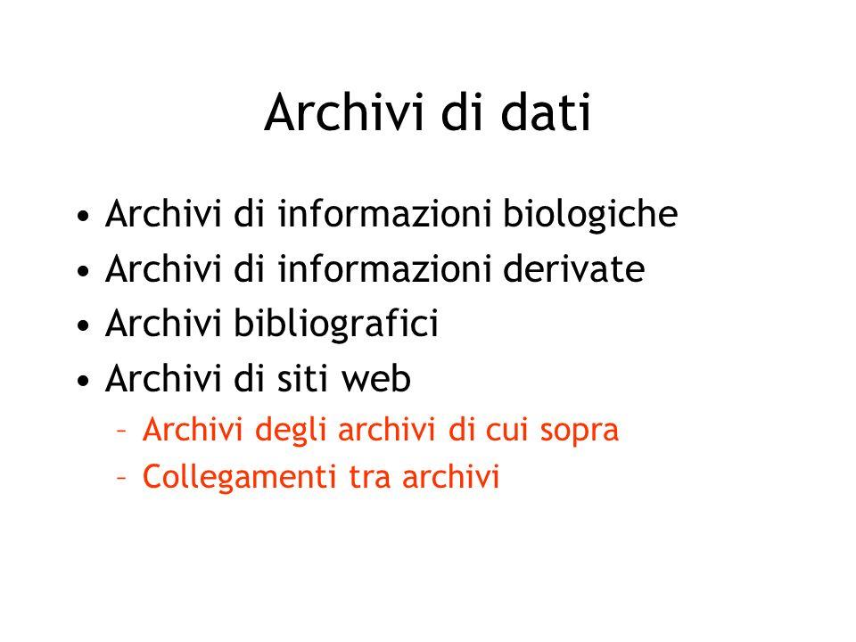 Archivi di dati Archivi di informazioni biologiche Archivi di informazioni derivate Archivi bibliografici Archivi di siti web –Archivi degli archivi d