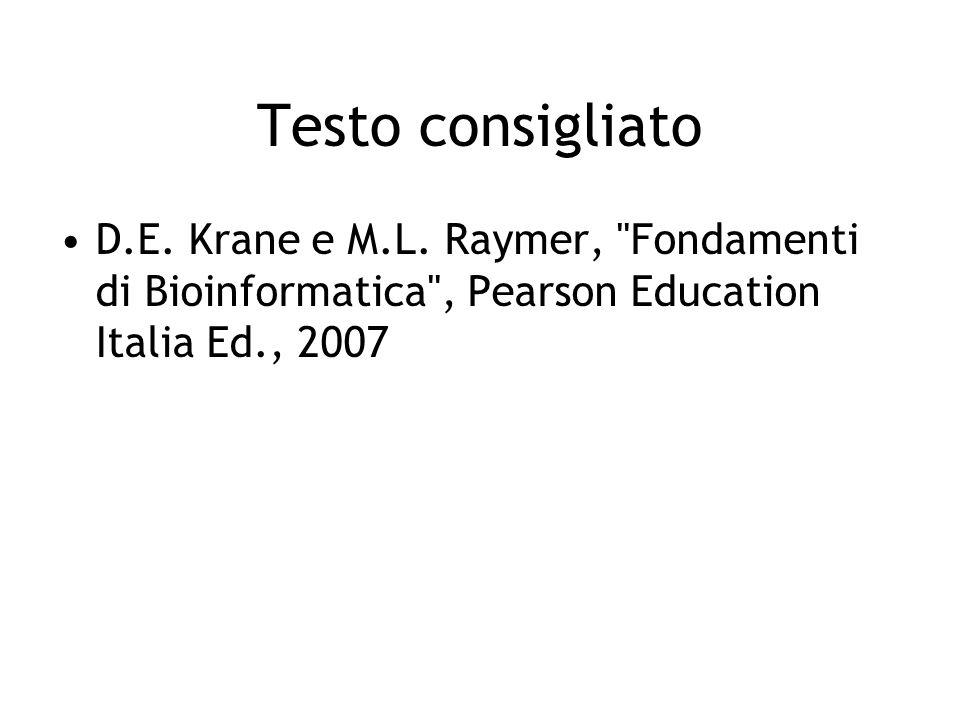 Testo consigliato D.E. Krane e M.L. Raymer,