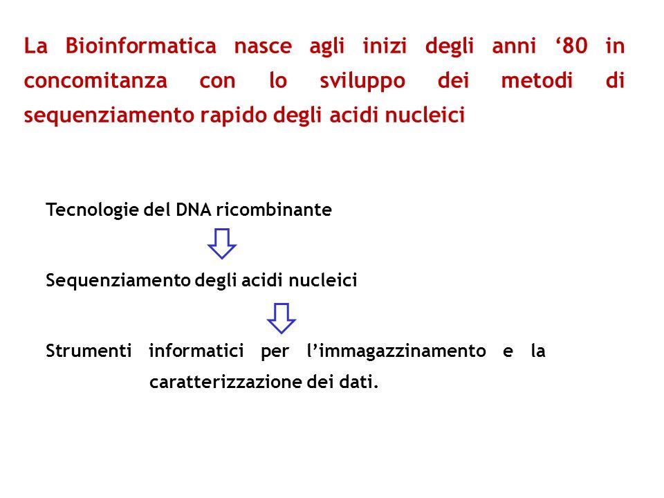 La Bioinformatica nasce agli inizi degli anni 80 in concomitanza con lo sviluppo dei metodi di sequenziamento rapido degli acidi nucleici Tecnologie d