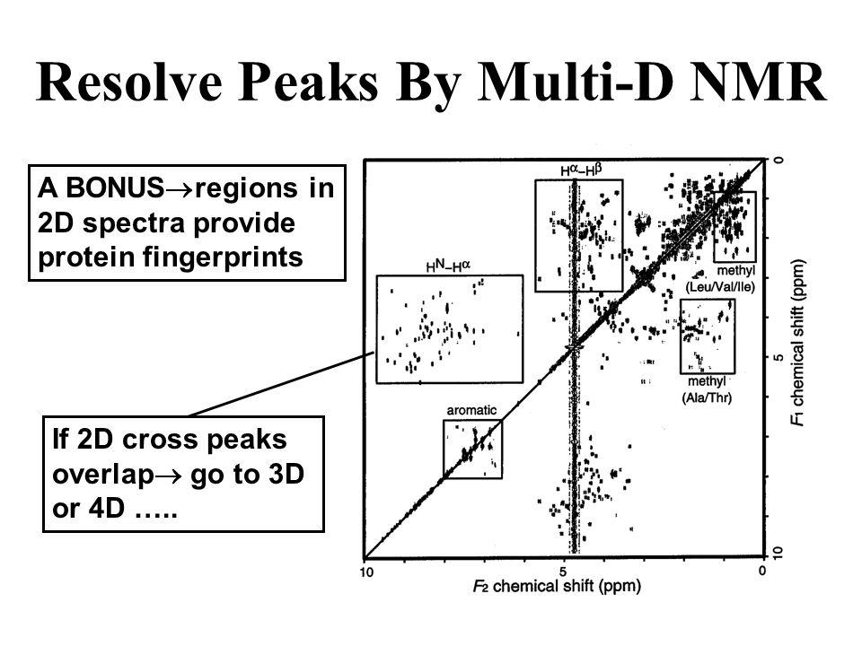 Resolve Peaks By Multi-D NMR A BONUS regions in 2D spectra provide protein fingerprints If 2D cross peaks overlap go to 3D or 4D …..