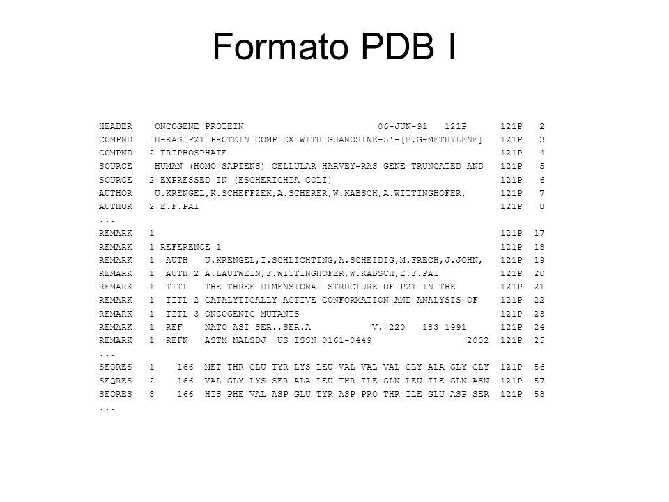 Formato PDB I HEADER ONCOGENE PROTEIN 06-JUN-91 121P 121P 2 COMPND H-RAS P21 PROTEIN COMPLEX WITH GUANOSINE-5'-[B,G-METHYLENE] 121P 3 COMPND 2 TRIPHOS