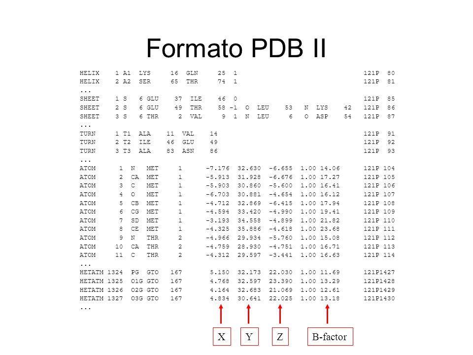 Formato PDB II HELIX 1 A1 LYS 16 GLN 25 1 121P 80 HELIX 2 A2 SER 65 THR 74 1 121P 81... SHEET 1 S 6 GLU 37 ILE 46 0 121P 85 SHEET 2 S 6 GLU 49 THR 58