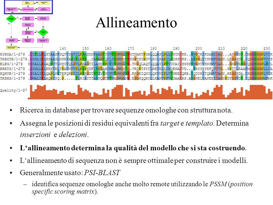 Allineamento Ricerca in database per trovare sequenze omologhe con struttura nota. Assegna le posizioni di residui equivalenti fra target e templato.