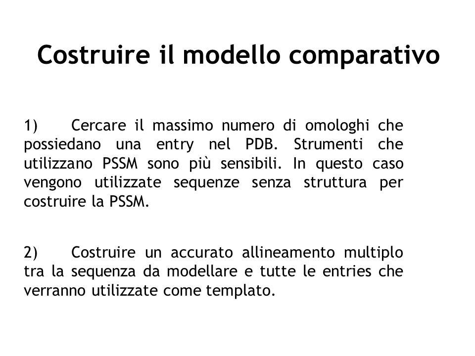 Costruire il modello comparativo 1)Cercare il massimo numero di omologhi che possiedano una entry nel PDB. Strumenti che utilizzano PSSM sono più sens