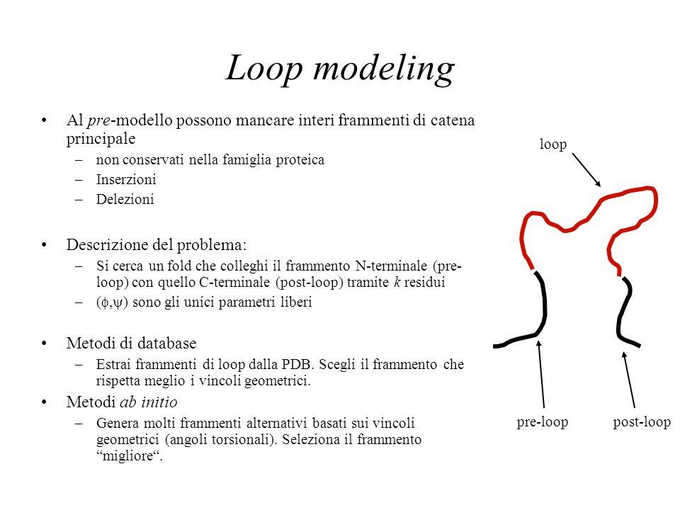 Loop modeling Al pre-modello possono mancare interi frammenti di catena principale –non conservati nella famiglia proteica –Inserzioni –Delezioni Descrizione del problema: –Si cerca un fold che colleghi il frammento N-terminale (pre- loop) con quello C-terminale (post-loop) tramite k residui –(, ) sono gli unici parametri liberi Metodi di database –Estrai frammenti di loop dalla PDB.