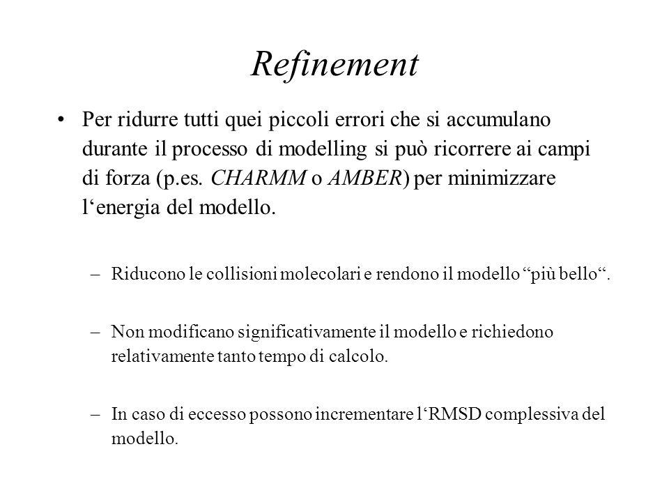 Refinement Per ridurre tutti quei piccoli errori che si accumulano durante il processo di modelling si può ricorrere ai campi di forza (p.es. CHARMM o