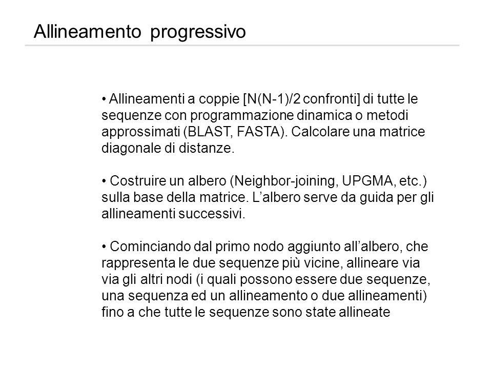 Allineamento progressivo Allineamenti a coppie [N(N-1)/2 confronti] di tutte le sequenze con programmazione dinamica o metodi approssimati (BLAST, FAS