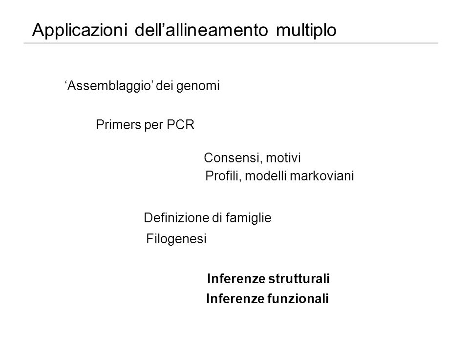 Applicazioni dellallineamento multiplo Assemblaggio dei genomi Primers per PCR Consensi, motivi Profili, modelli markoviani Definizione di famiglie Fi