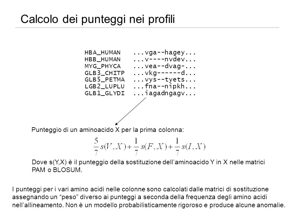 Calcolo dei punteggi nei profili HBA_HUMAN...vga--hagey... HBB_HUMAN...v----nvdev... MYG_PHYCA...vea--dvag-... GLB3_CHITP...vkg------d... GLB5_PETMA..