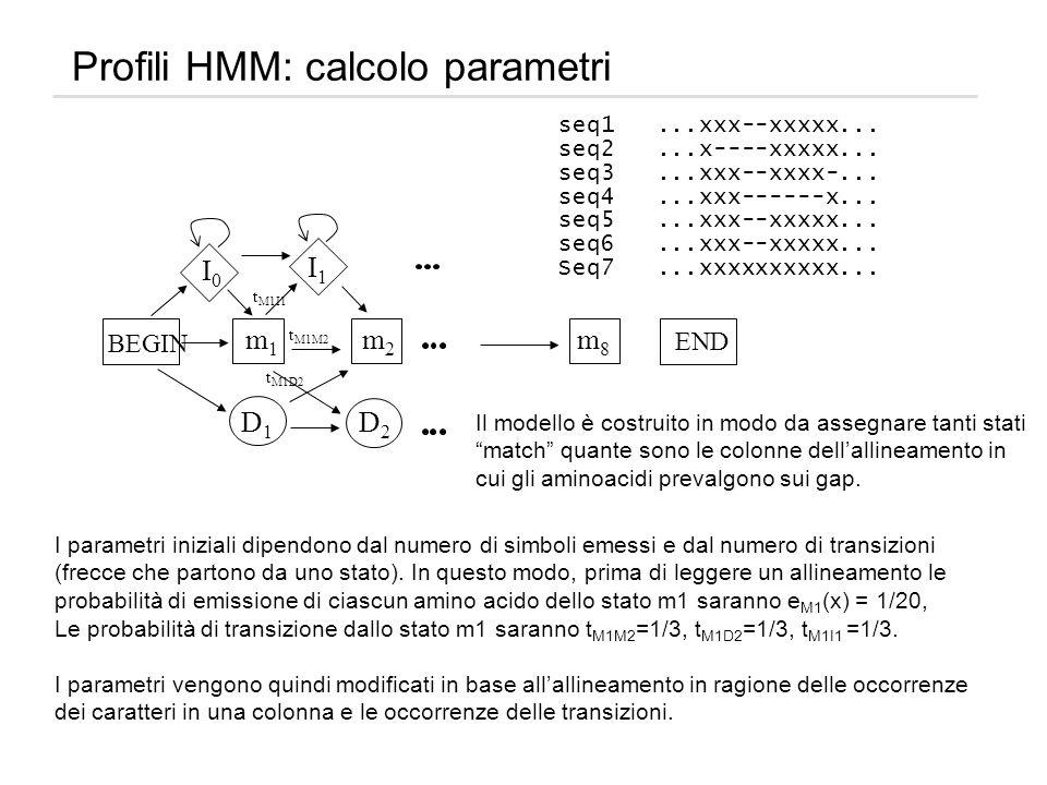 Profili HMM: calcolo parametri seq1...xxx--xxxxx... seq2...x----xxxxx... seq3...xxx--xxxx-... seq4...xxx------x... seq5...xxx--xxxxx... seq6...xxx--xx