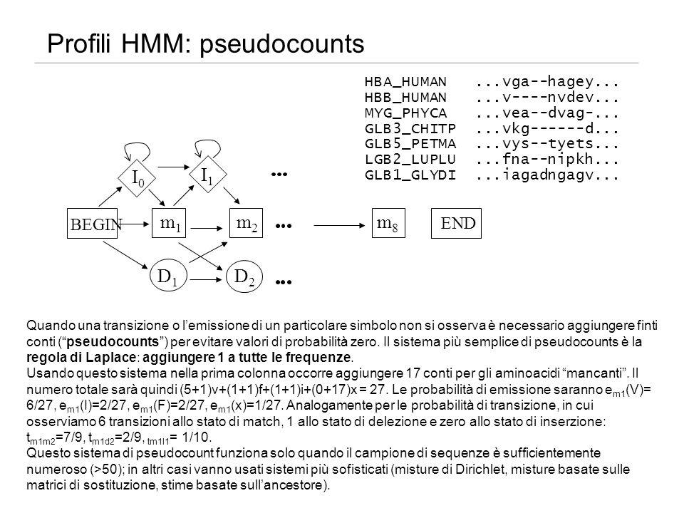 Profili HMM: pseudocounts HBA_HUMAN...vga--hagey... HBB_HUMAN...v----nvdev... MYG_PHYCA...vea--dvag-... GLB3_CHITP...vkg------d... GLB5_PETMA...vys--t